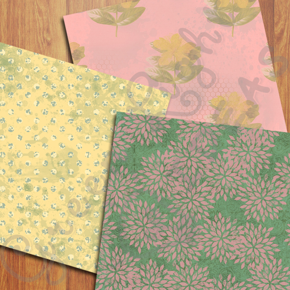 Vintage Floral Digital Papers, Shabby Chic Scrapbook Papers example image 5