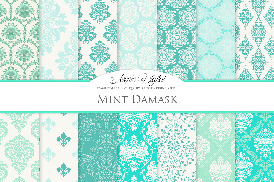 28 Mint Damask Patterns - Wedding Seamless Digital Papers Bundle example image 2