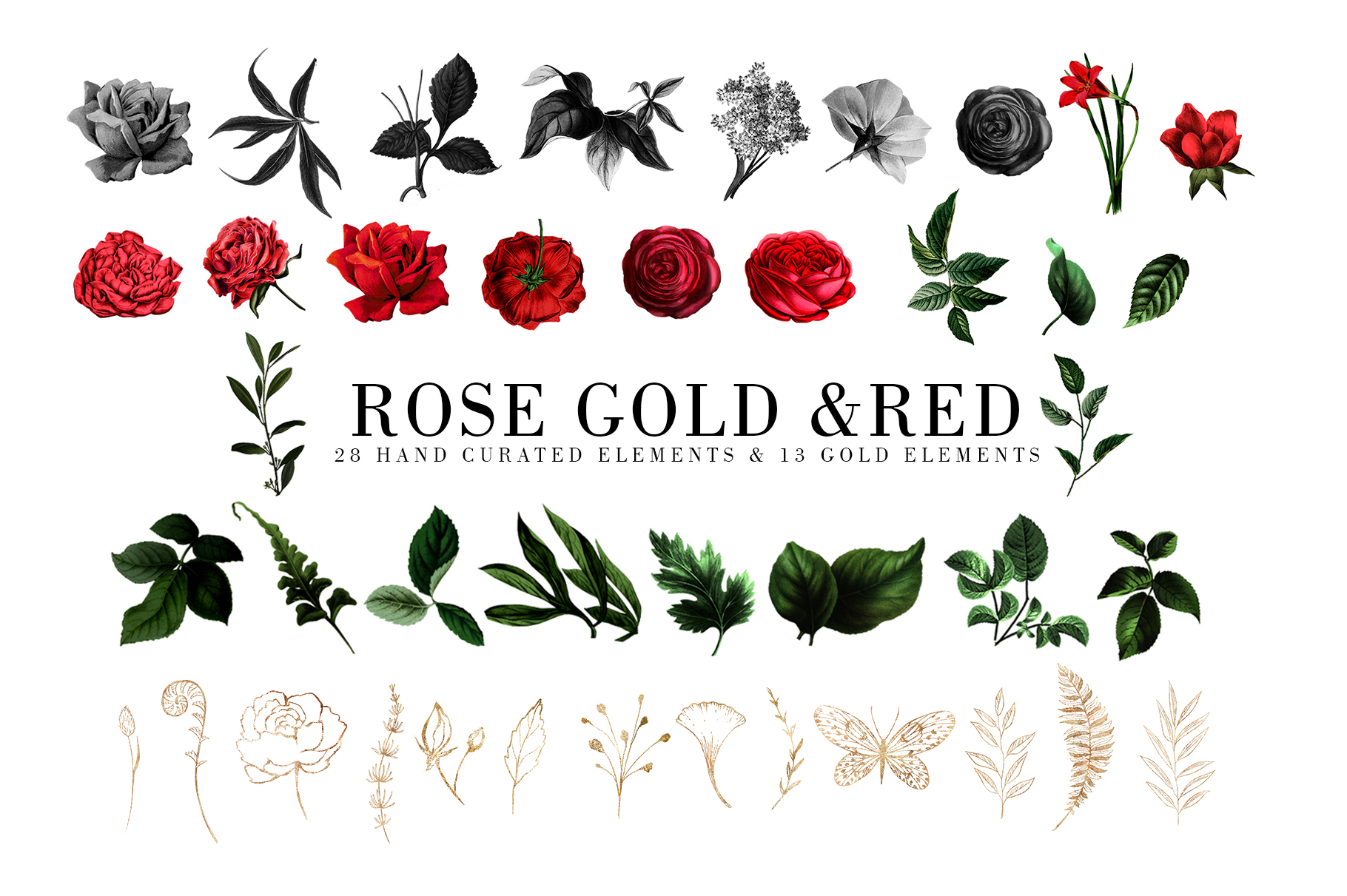 Red Flowers and Gold| Roses vintage and gold example image 3