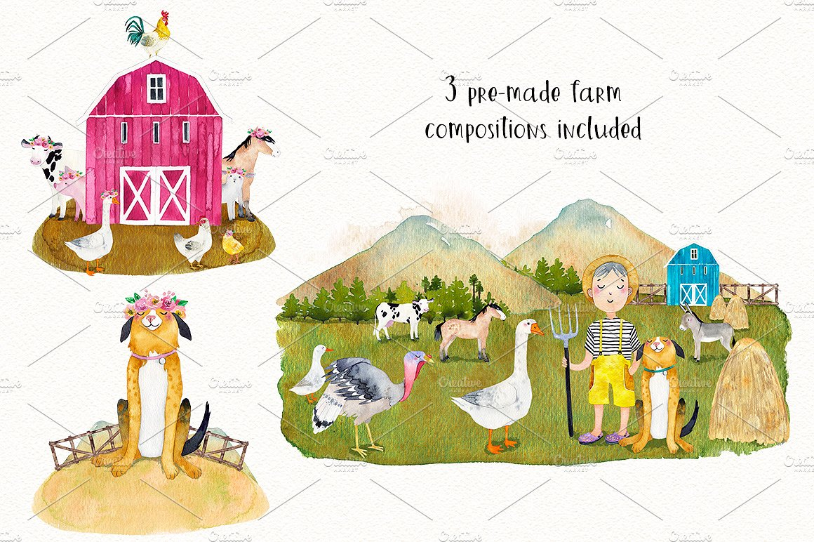 FARM ANIMALS watercolor set PART 2 example image 3