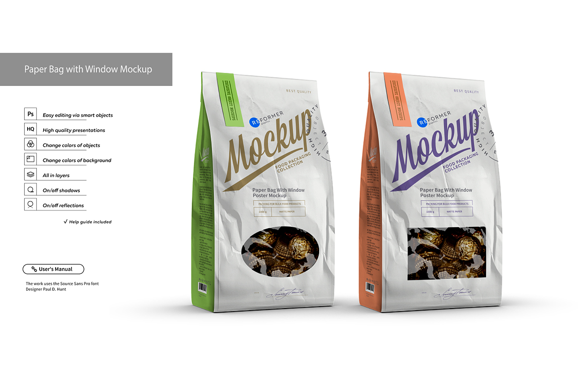 White Paper Bag with Window Mockup example image 2