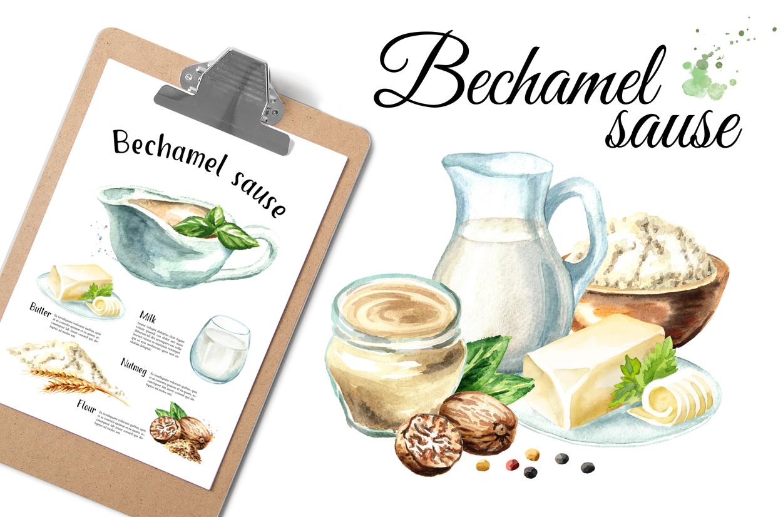 Bechamel sauce Watercolor example image 1