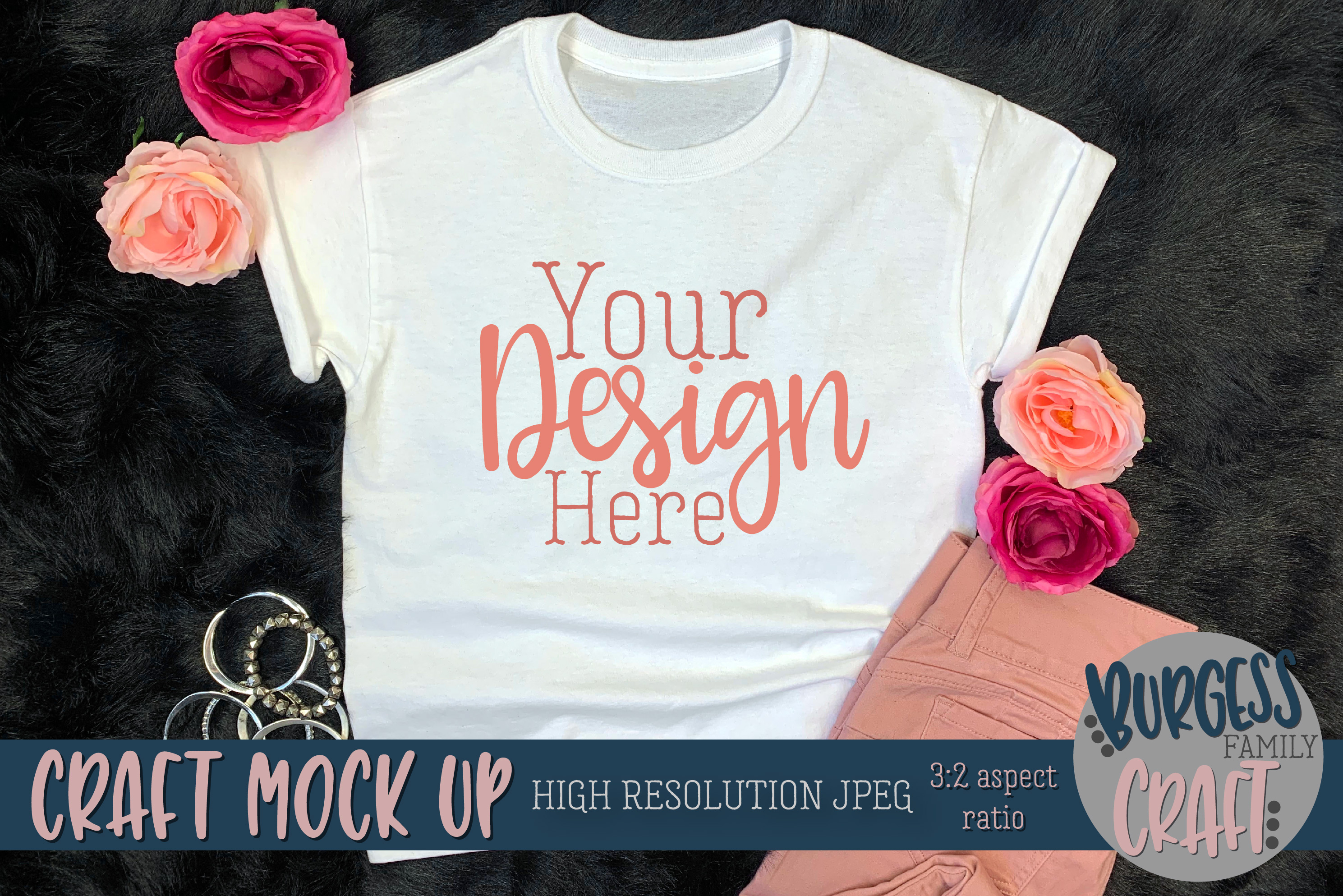 Youth Shirt Pretty in Pink Craft mock up | High Res JPEG example image 3