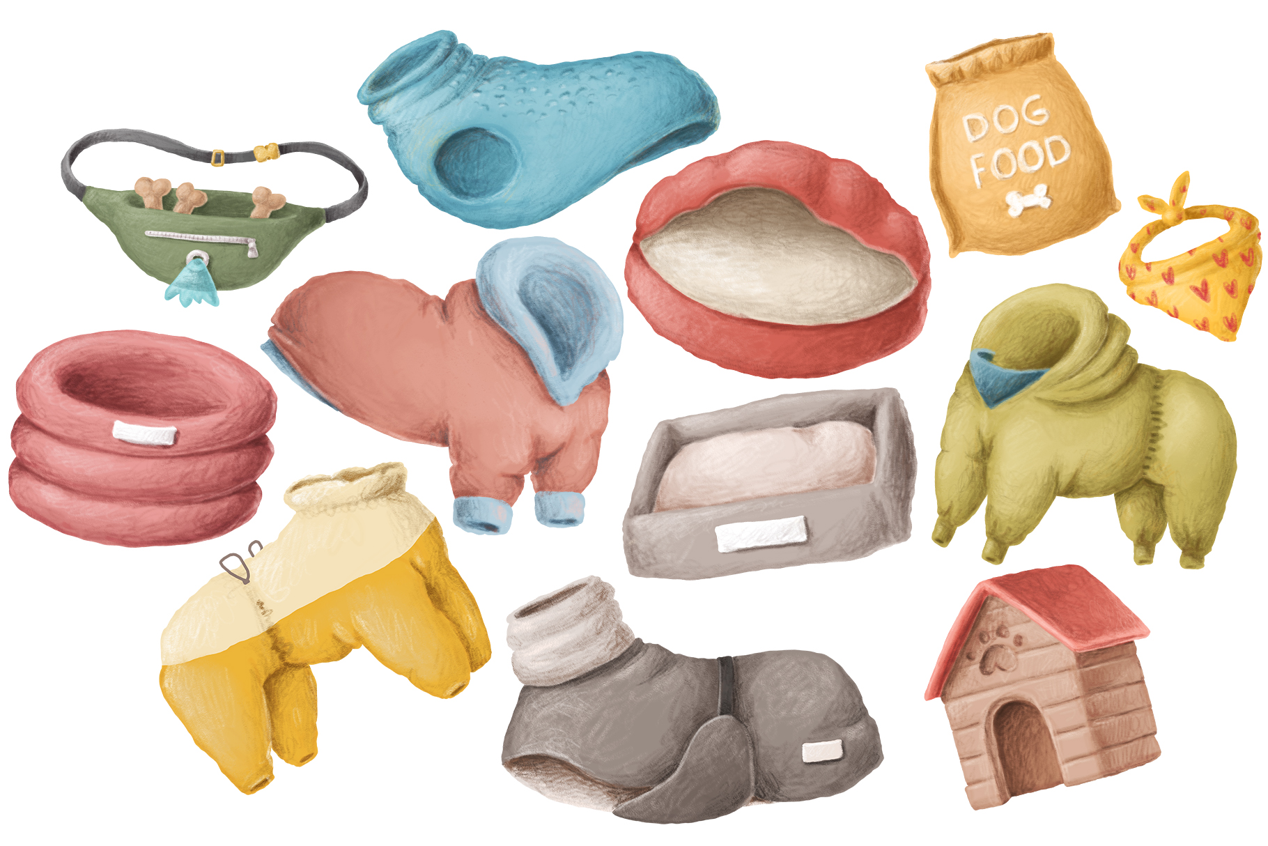 Dog items clipart collection example image 3