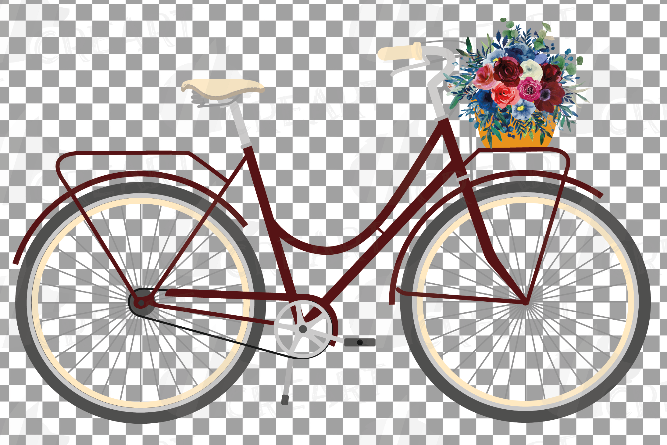 Floral bicycles with watercolor bouquets decoration clip art example image 8