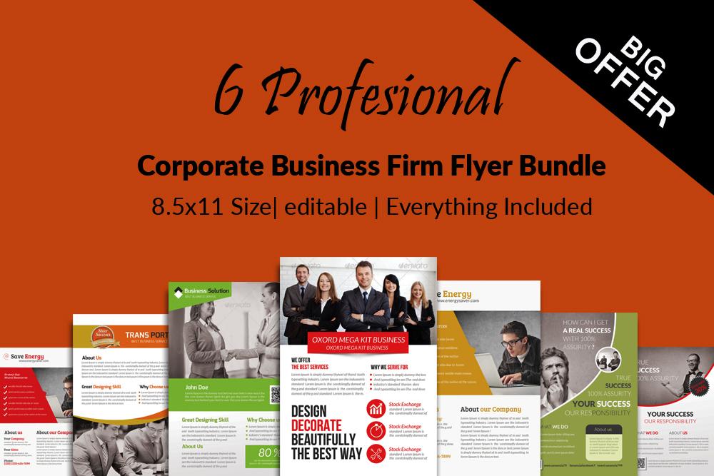 6 Corporate Business Flyers Bundle example image 1