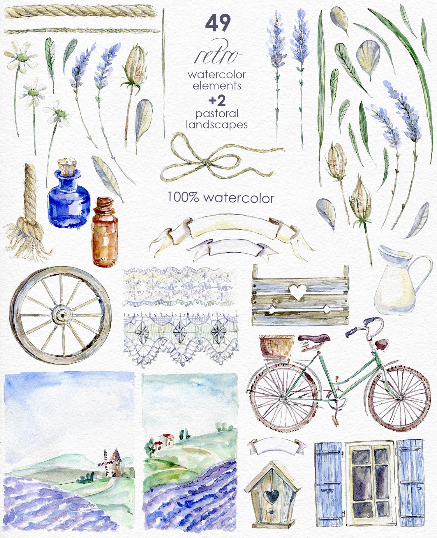 Lavender WATERCOLOR clipart set example image 7