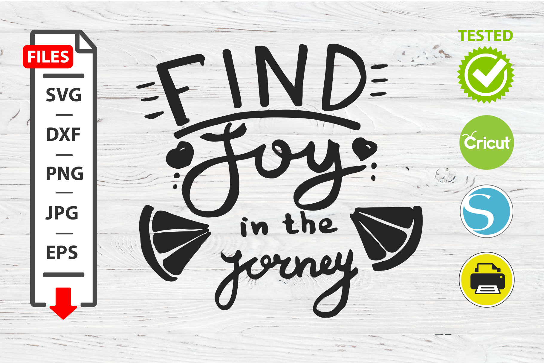 Find joy in the journey motivational quote SVG Cricut example image 1