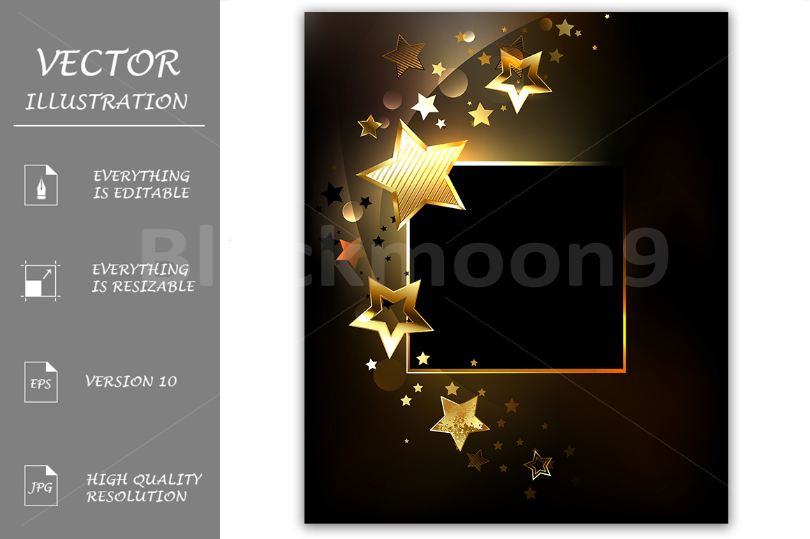Square Banner with Gold Stars example image 1