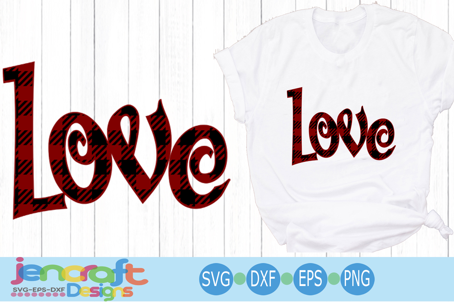 Buffalo Plaid Love svg, Valentine SVG Cut file example image 1