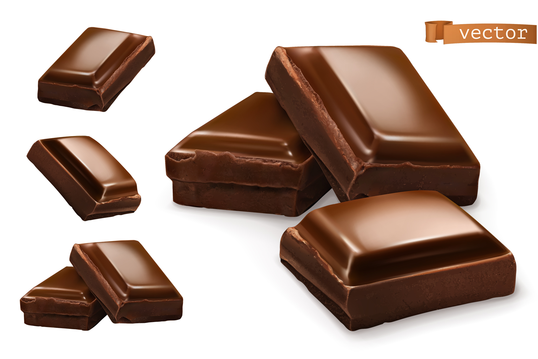 Chocolate bar, chocolate shavings, pieces, cocoa, vector set example image 3