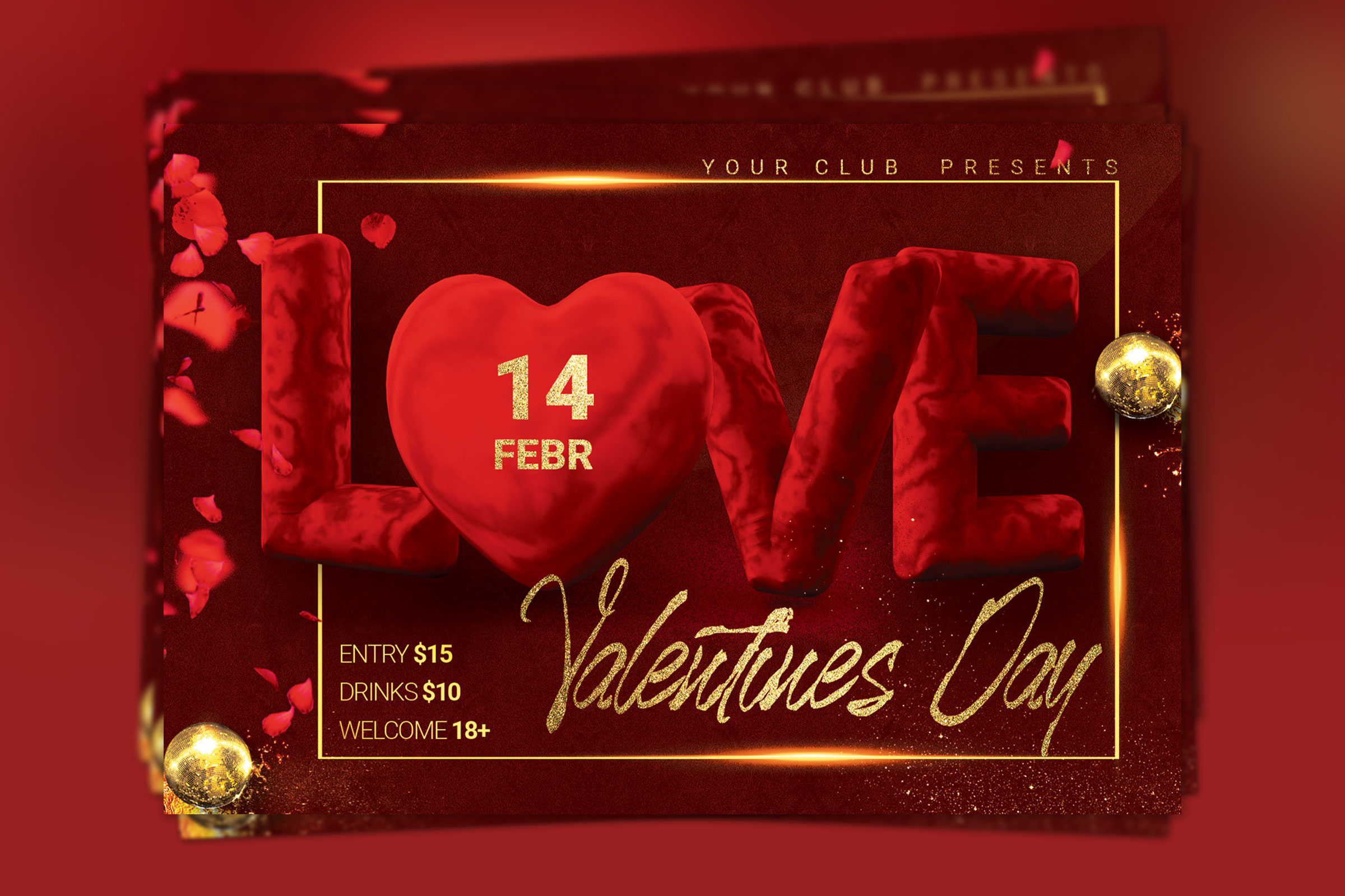 Valentine Day Party Flyer example image 2