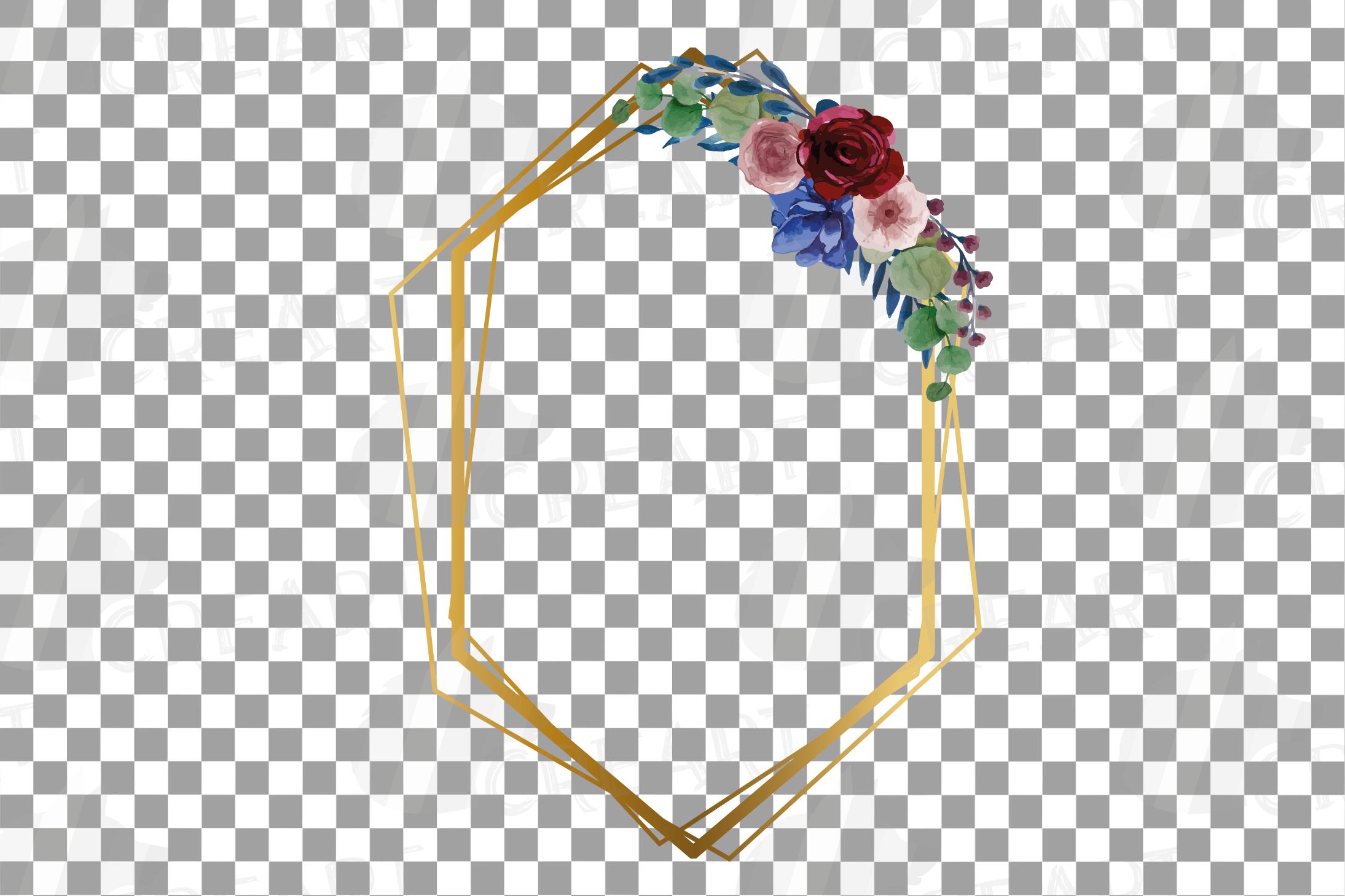 Watercolor elegant floral borders clip art. Wedding frames example image 9
