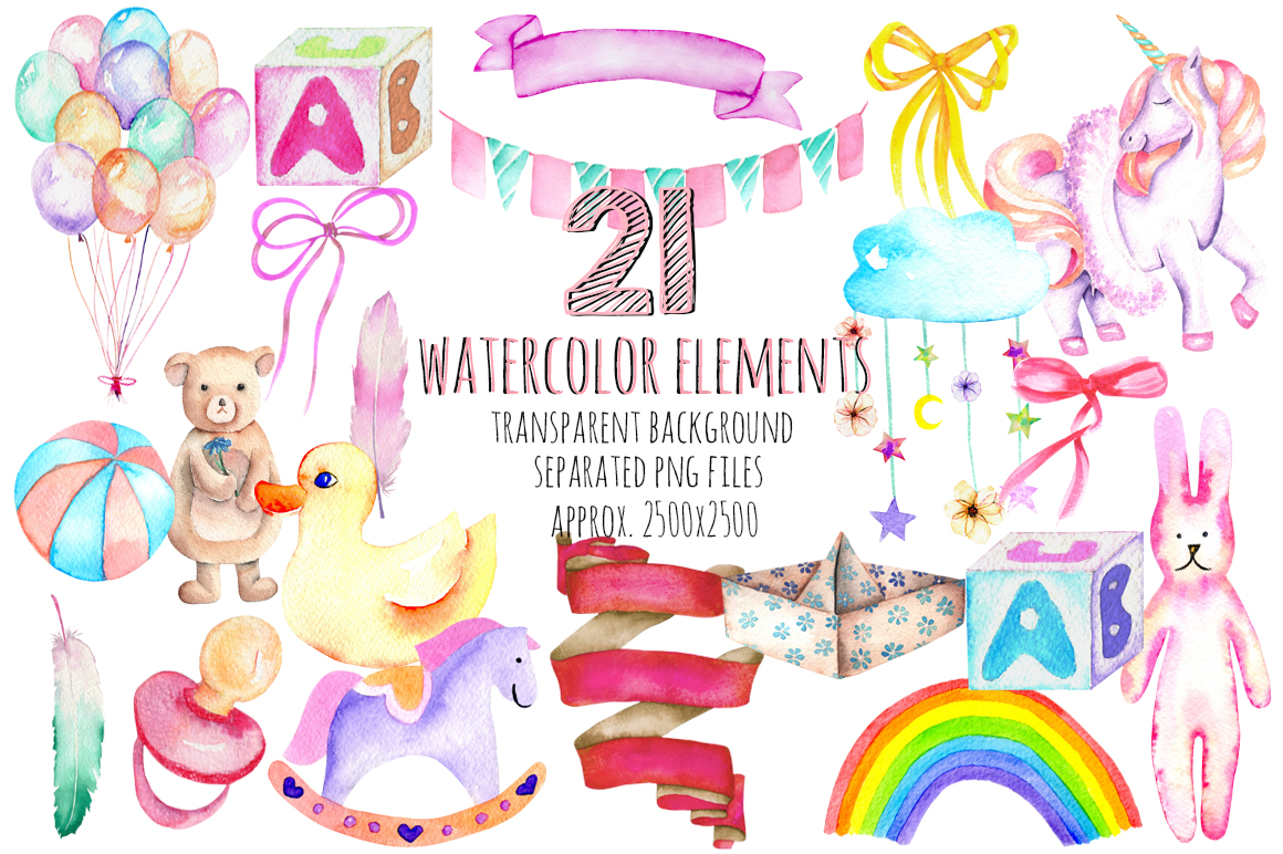 It's a Girl! watercolor clipart example image 2