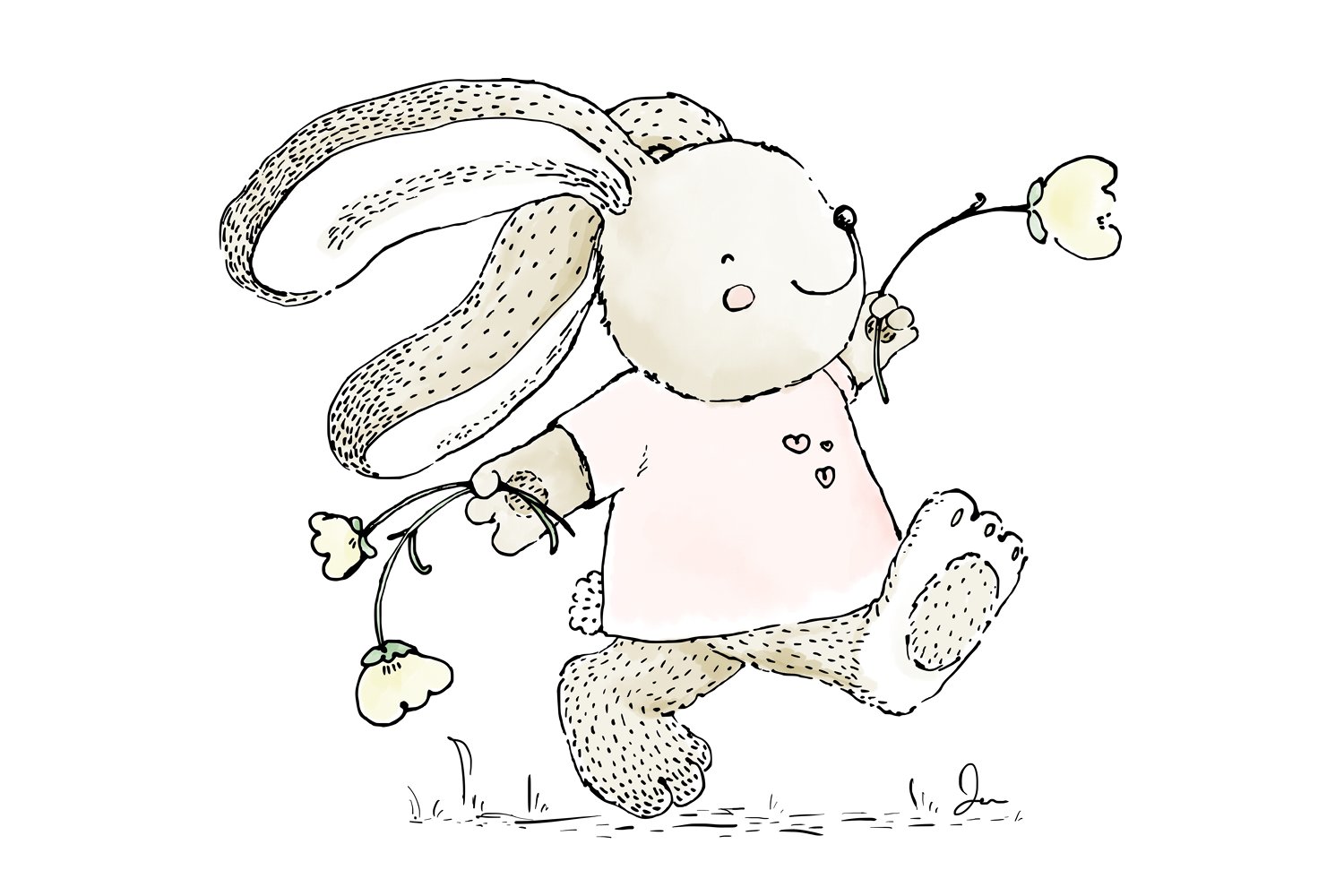 Cute 'Rabbit Skipping with Flowers'   Clip Art Illustration example image 2