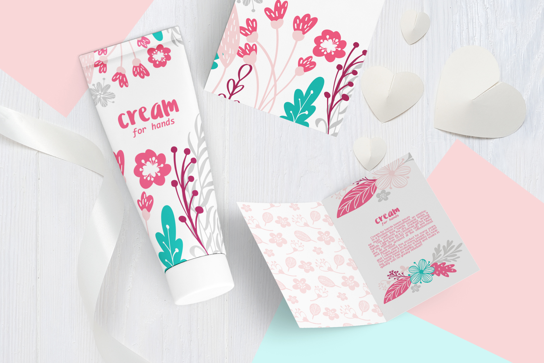 Spring vector lettering & floral greeting card example image 2