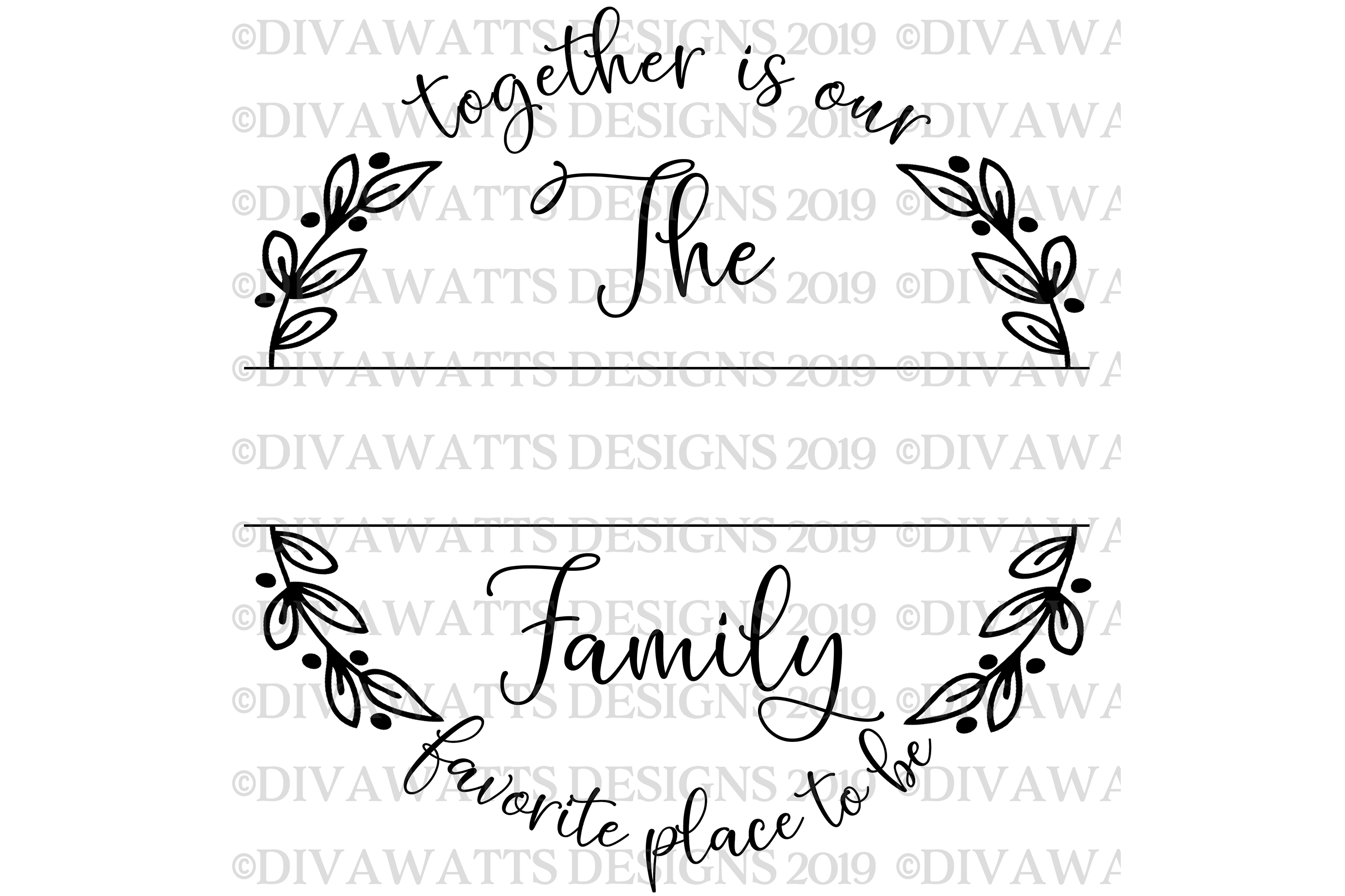 Together Is Our Favorite Place To Be Family Name Sign SVG example image 5