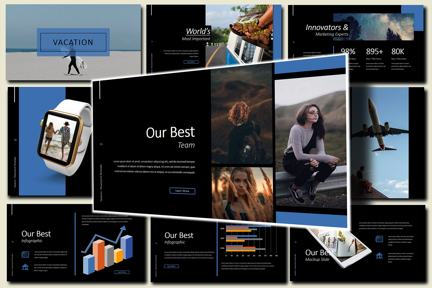Vacation Lookbook Dark Google Slides Presentation example image 1