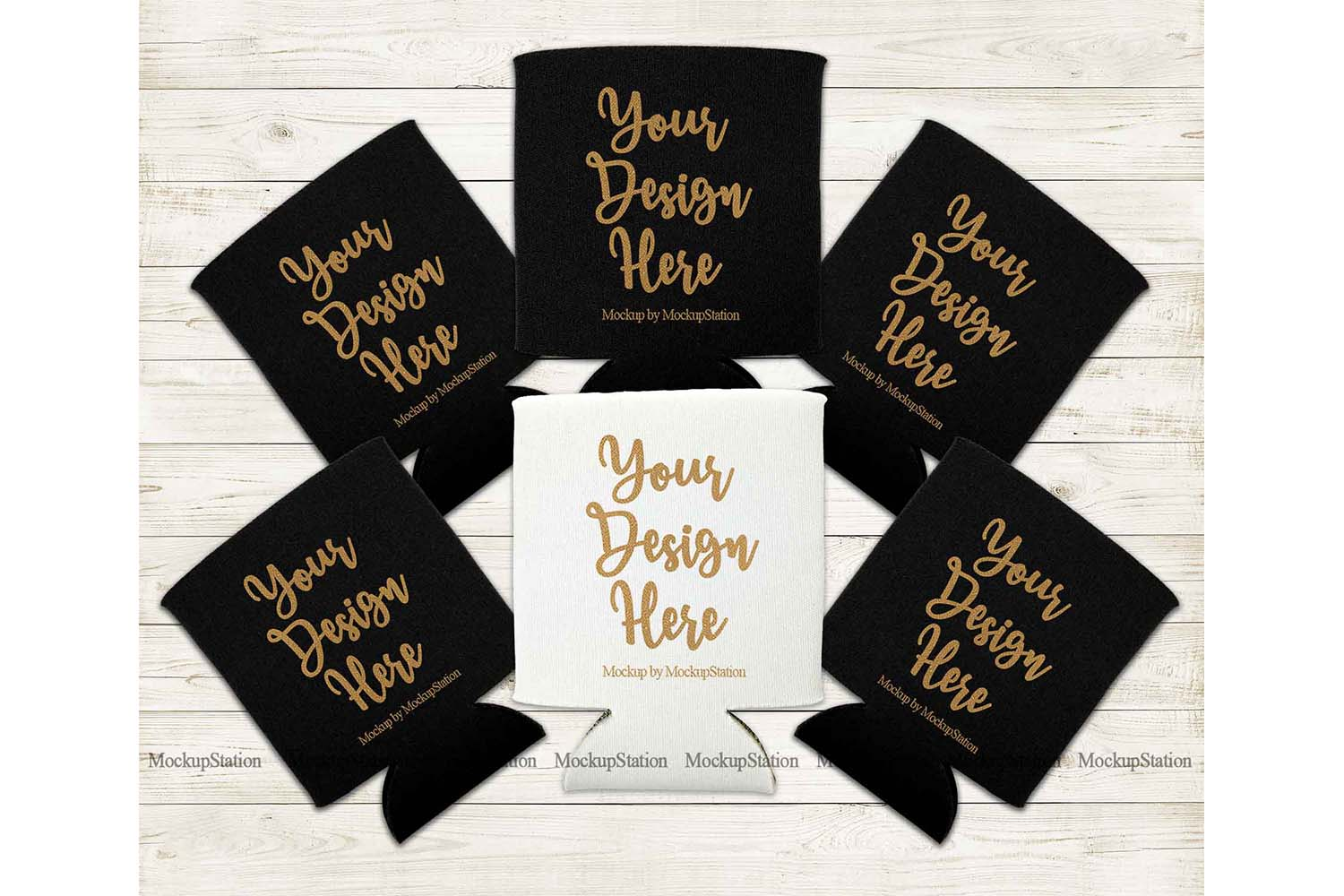 Bride Can Coolers Mockup, Black White Can Holder Flat Lay example image 1