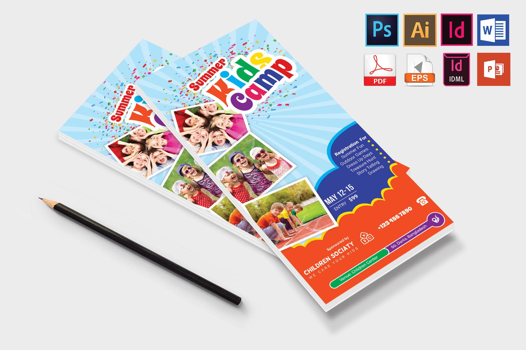 Rack Card | Kids Summer Camp DL Flyer Vol-3 example image 4