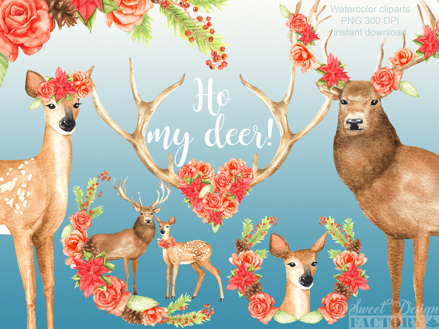 Deers and flowers cliparts example image 2