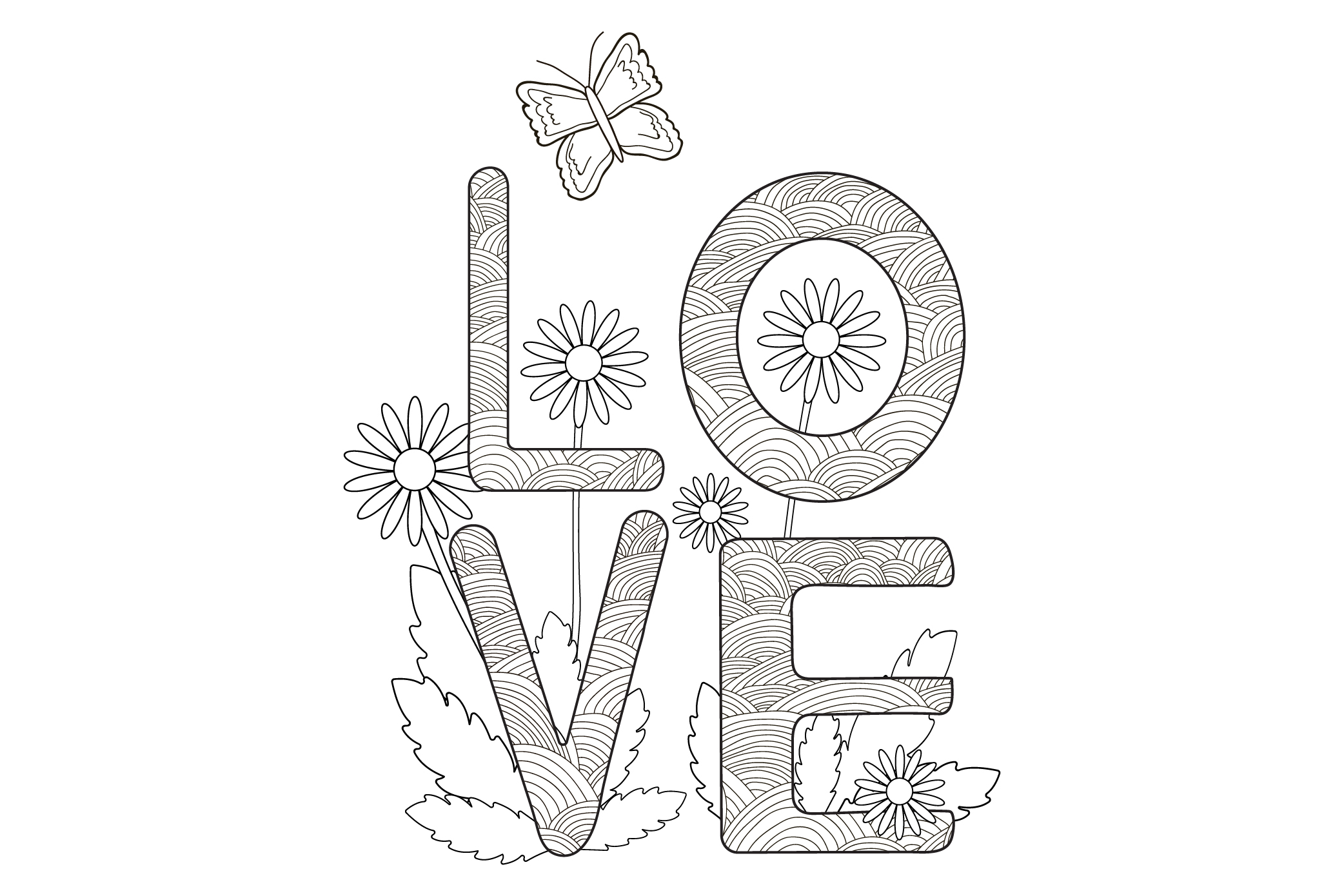 Digital coloring page. Card with word Love, flowers, butter example image 1