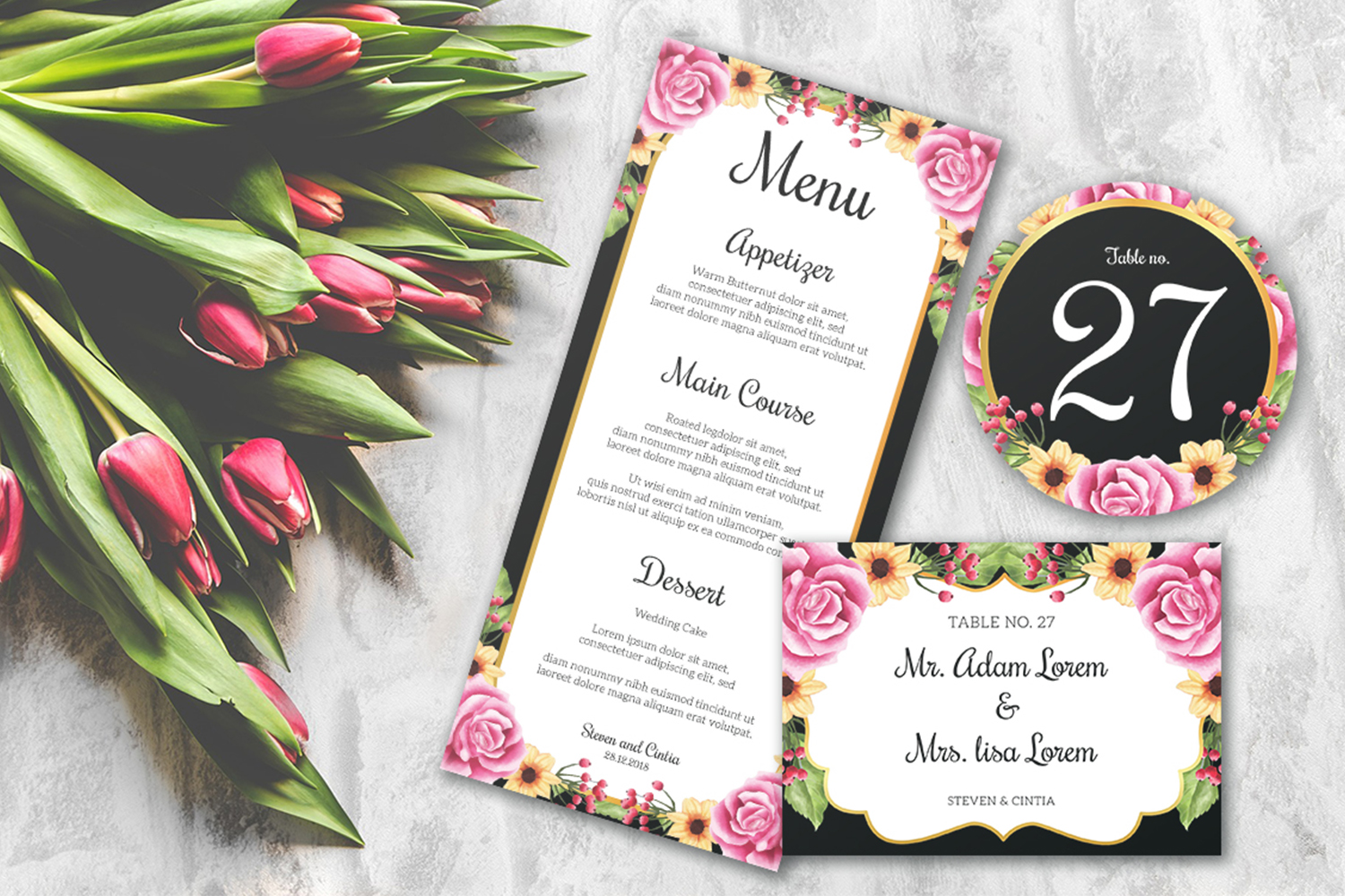 Wedding invitation floral rose Collection example image 4
