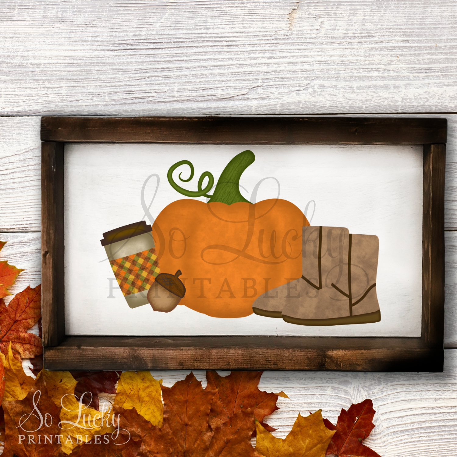 Pumpkin and boots fall watercolor printable sublimati example image 2