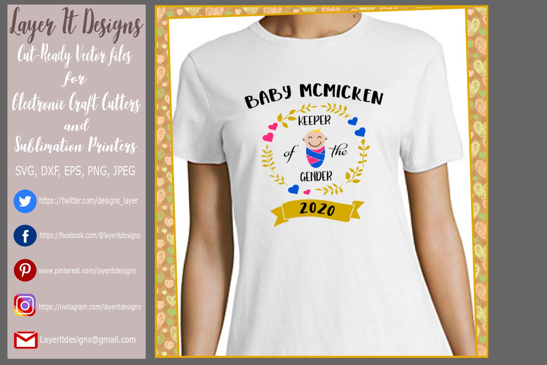 Keeper of the Gender / Gender Reveal T Shirt Design files example image 2