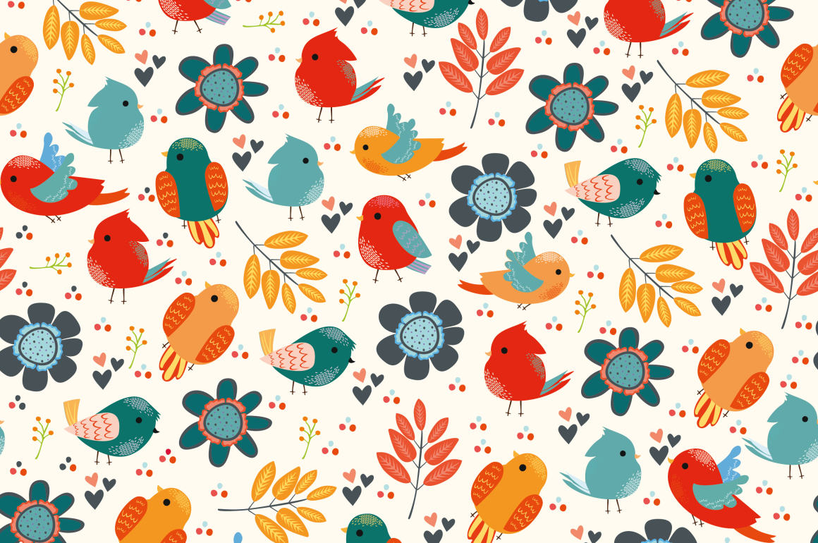 Seamless patterns with birds example image 4