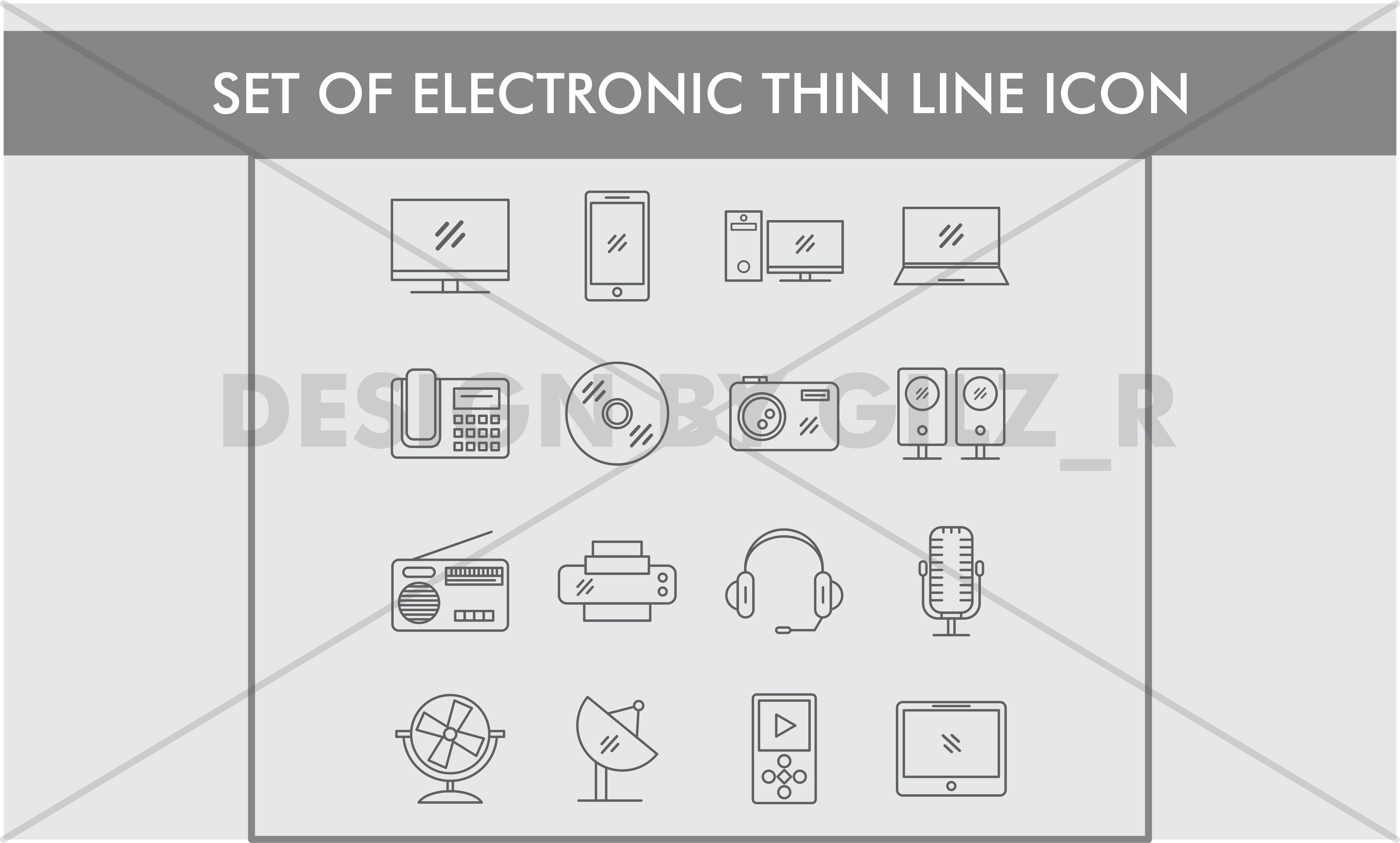 Set of Electronic Thin Line Icons example image 1