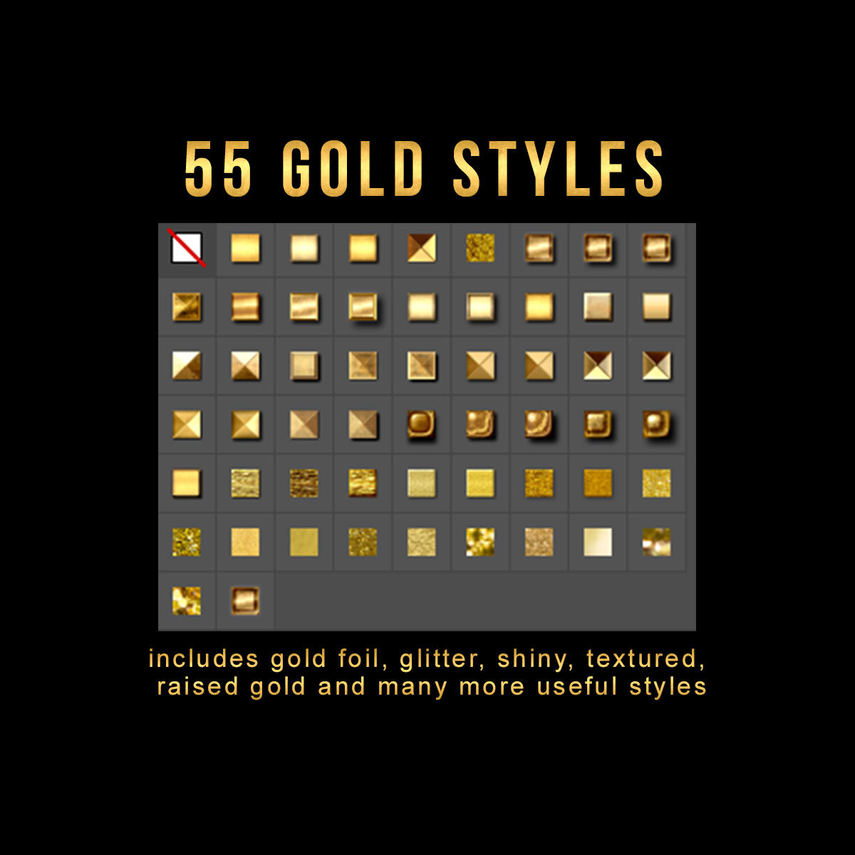 55 Photoshop Text Effects, Gold Foil Effect, Gold Stamp, Embossed Gold, ASL FX Styles, One Click FX example image 2