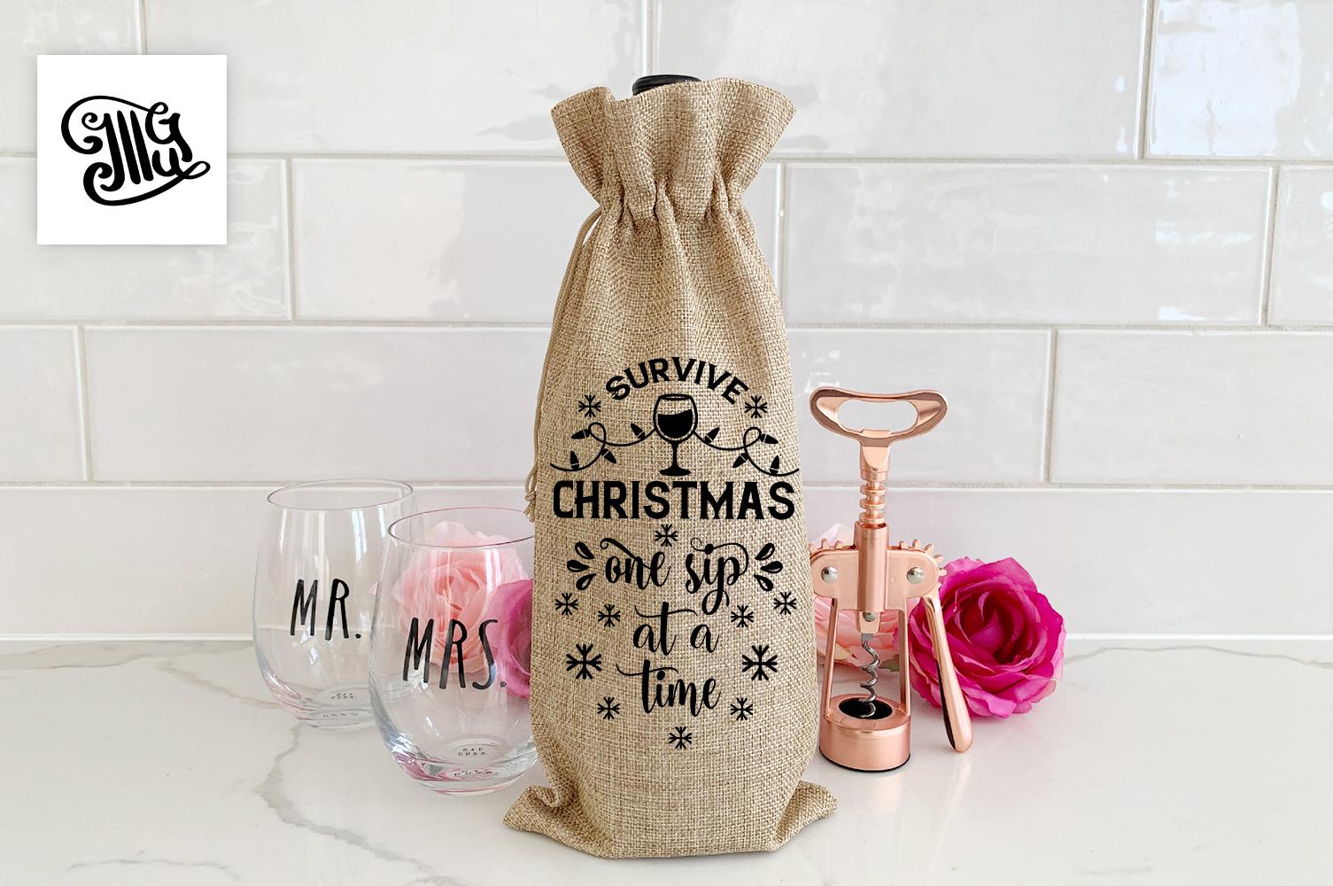 Christmas wine bag svg bundle example image 8