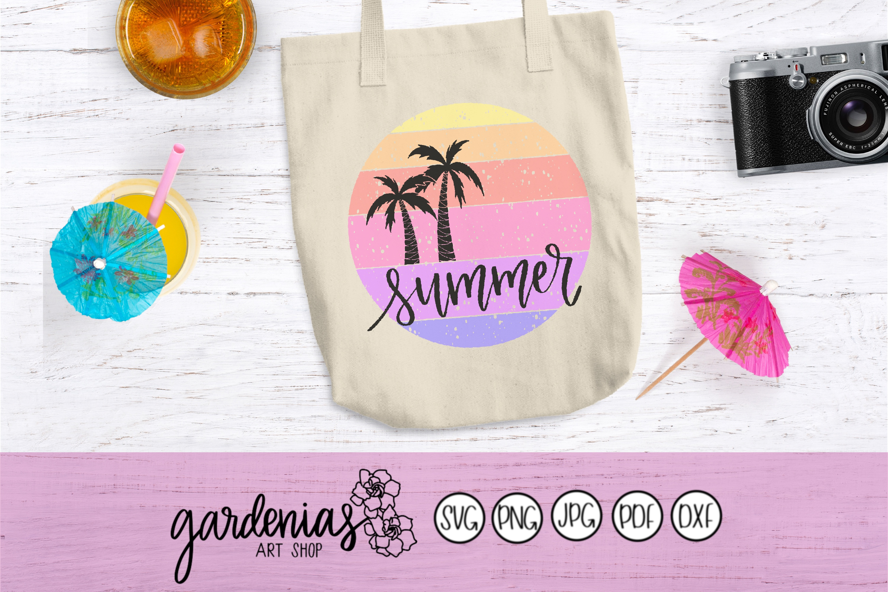 Summer SVG | Palm Trees SVG| Distressed | Circle | Textured example image 3