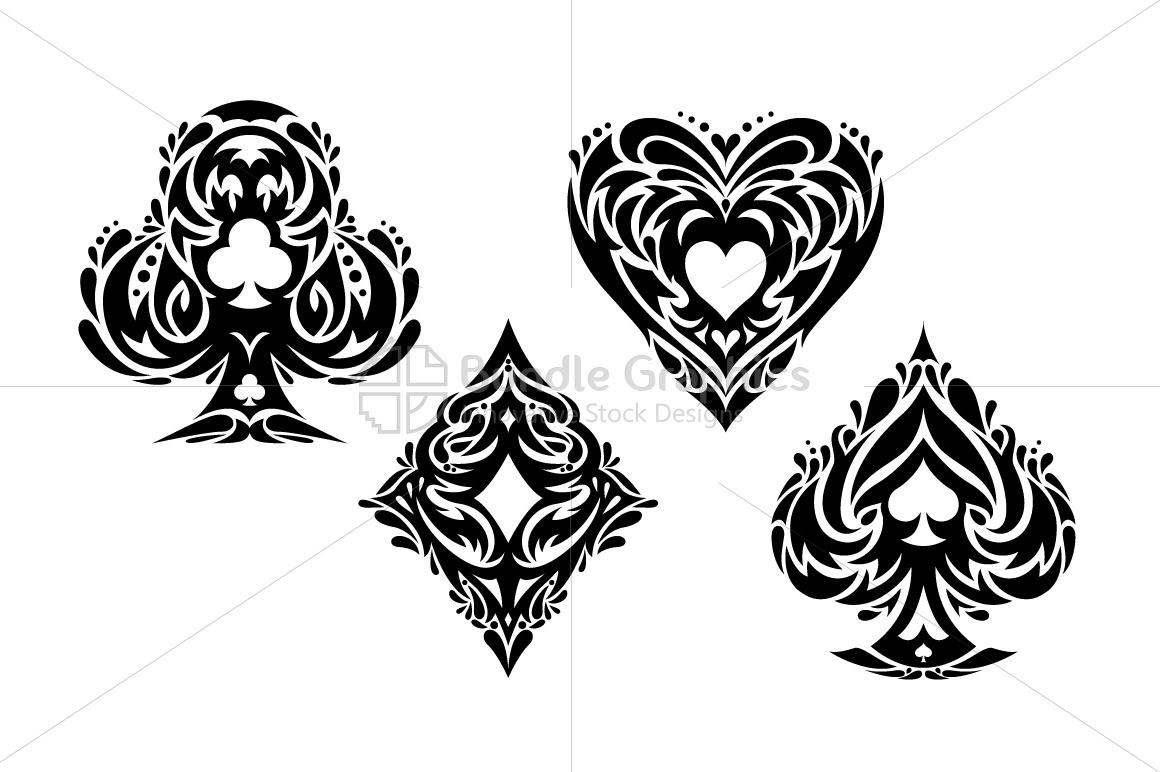 Playing Cards - Tribal Vector Symbols Set example image 2