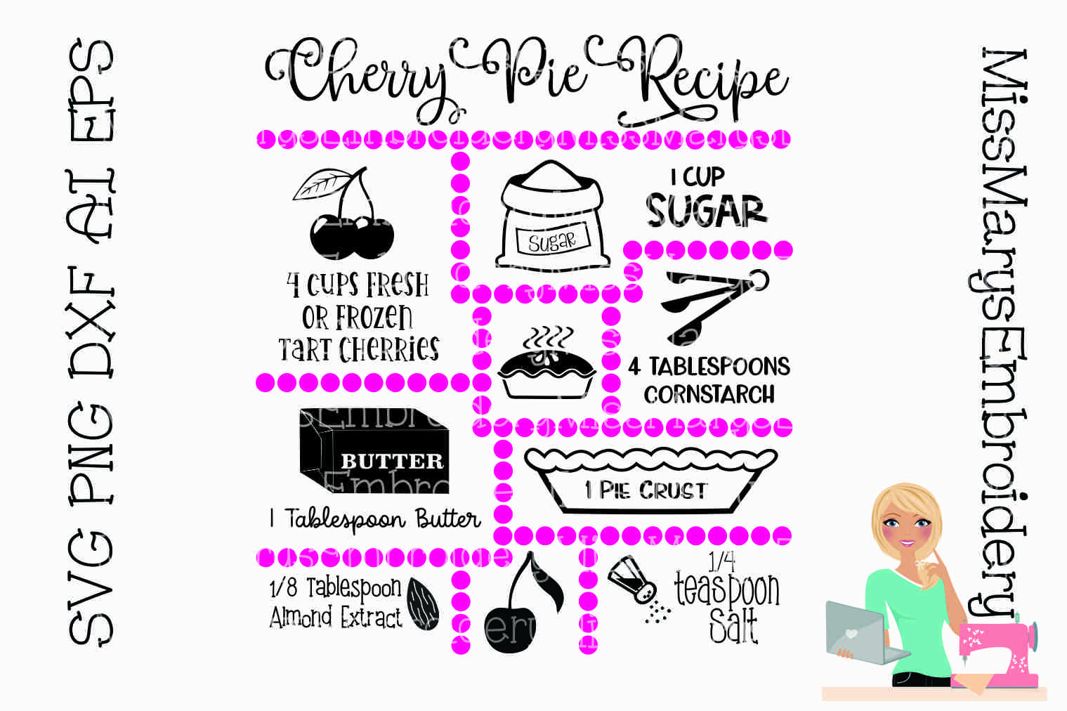 Cherry Pie Recipe SVG Cut File example image 1