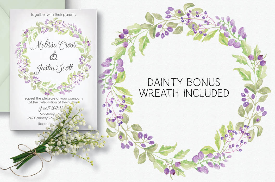 'Purple Passion': Watercolor wreath of purple flowers example image 4