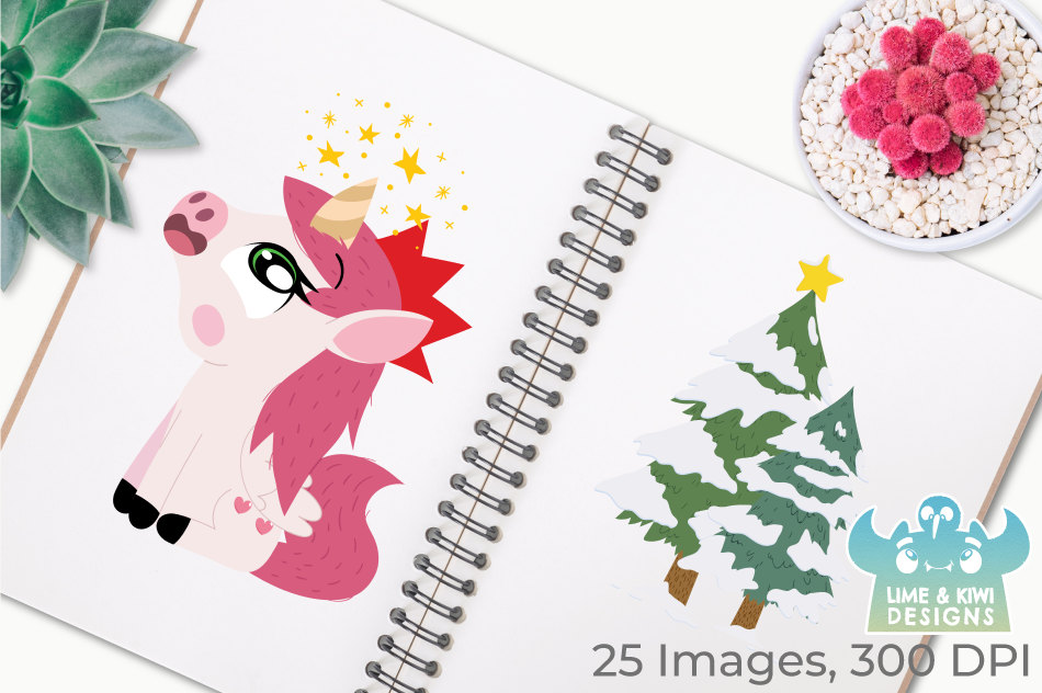 Christmas Unicorns 3 Clipart, Instant Download Vector Art example image 3