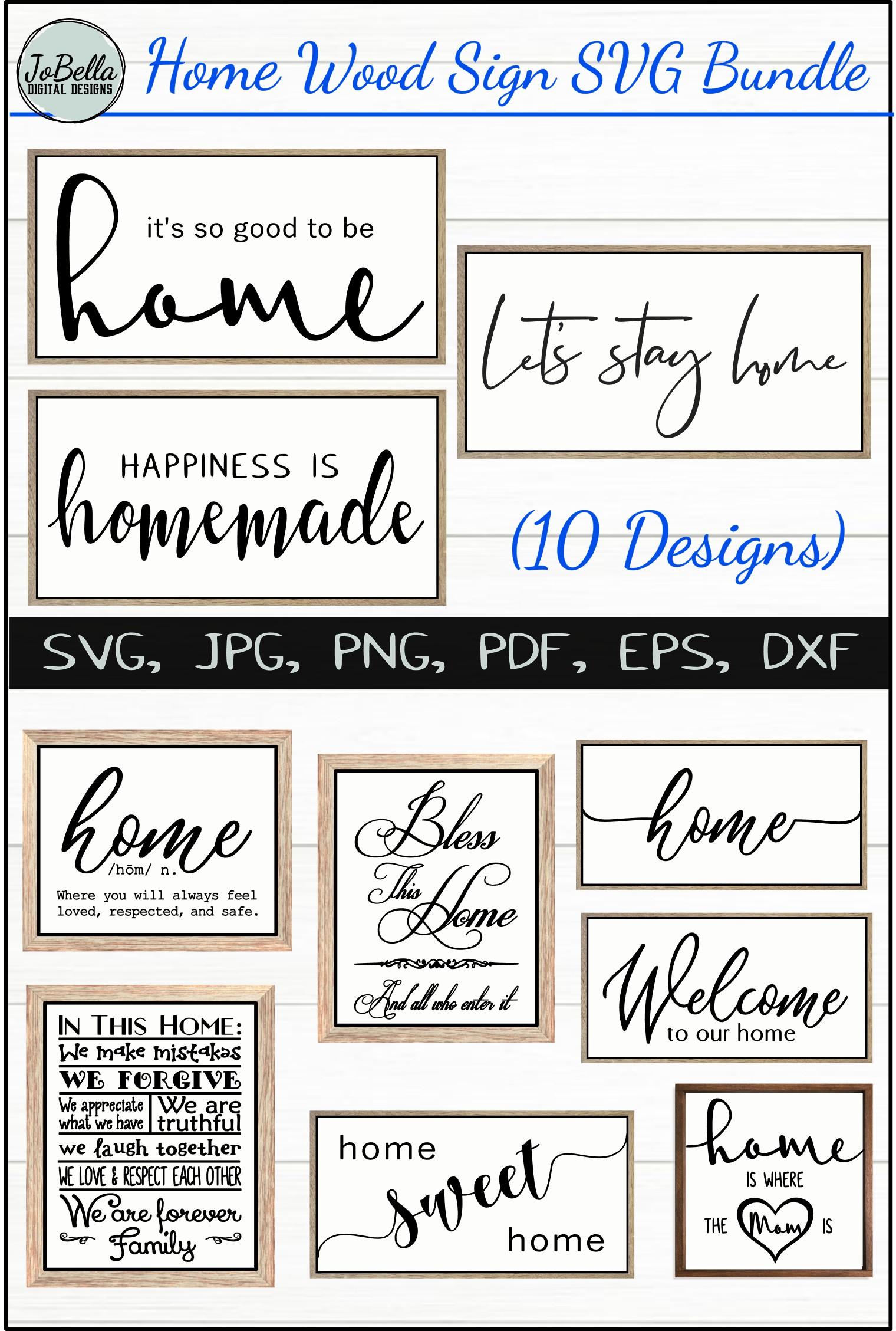 Home Wood Sign SVG Bundle - Farmhouse SVG Bundle example image 12