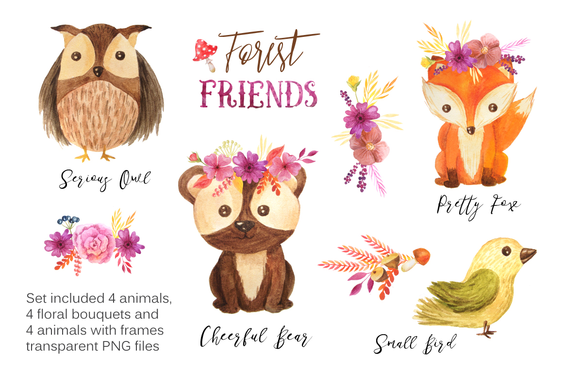 Watercolor Forest Animals Set example image 3