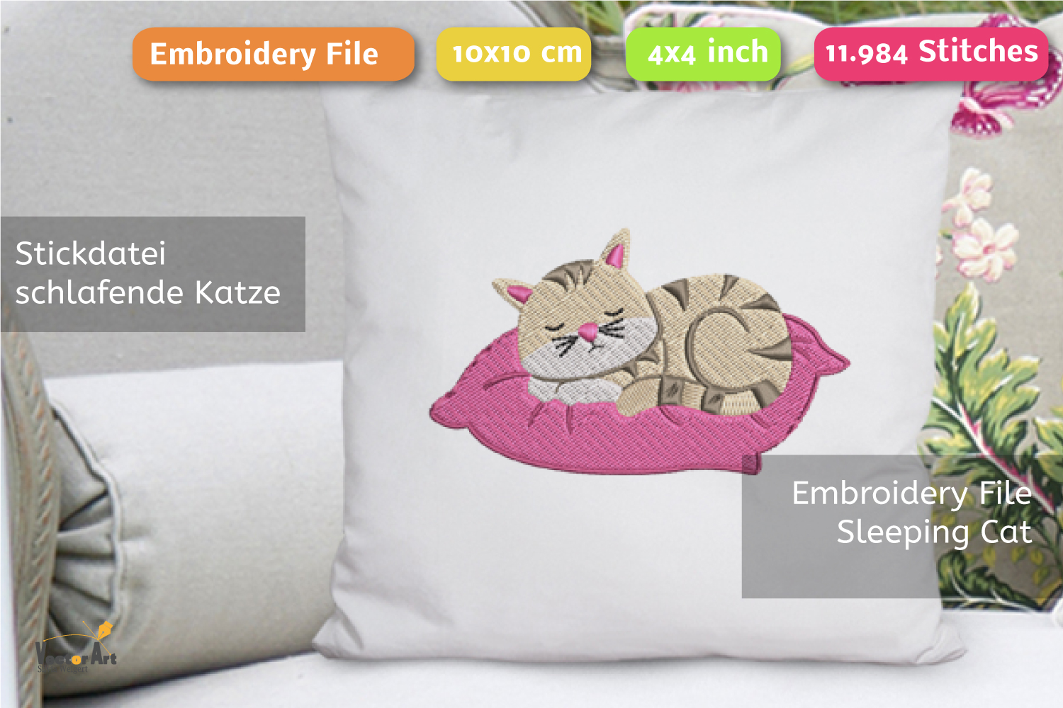 Sleeping Cat on a Pillow - Embroidery File - 4x4 inch example image 1