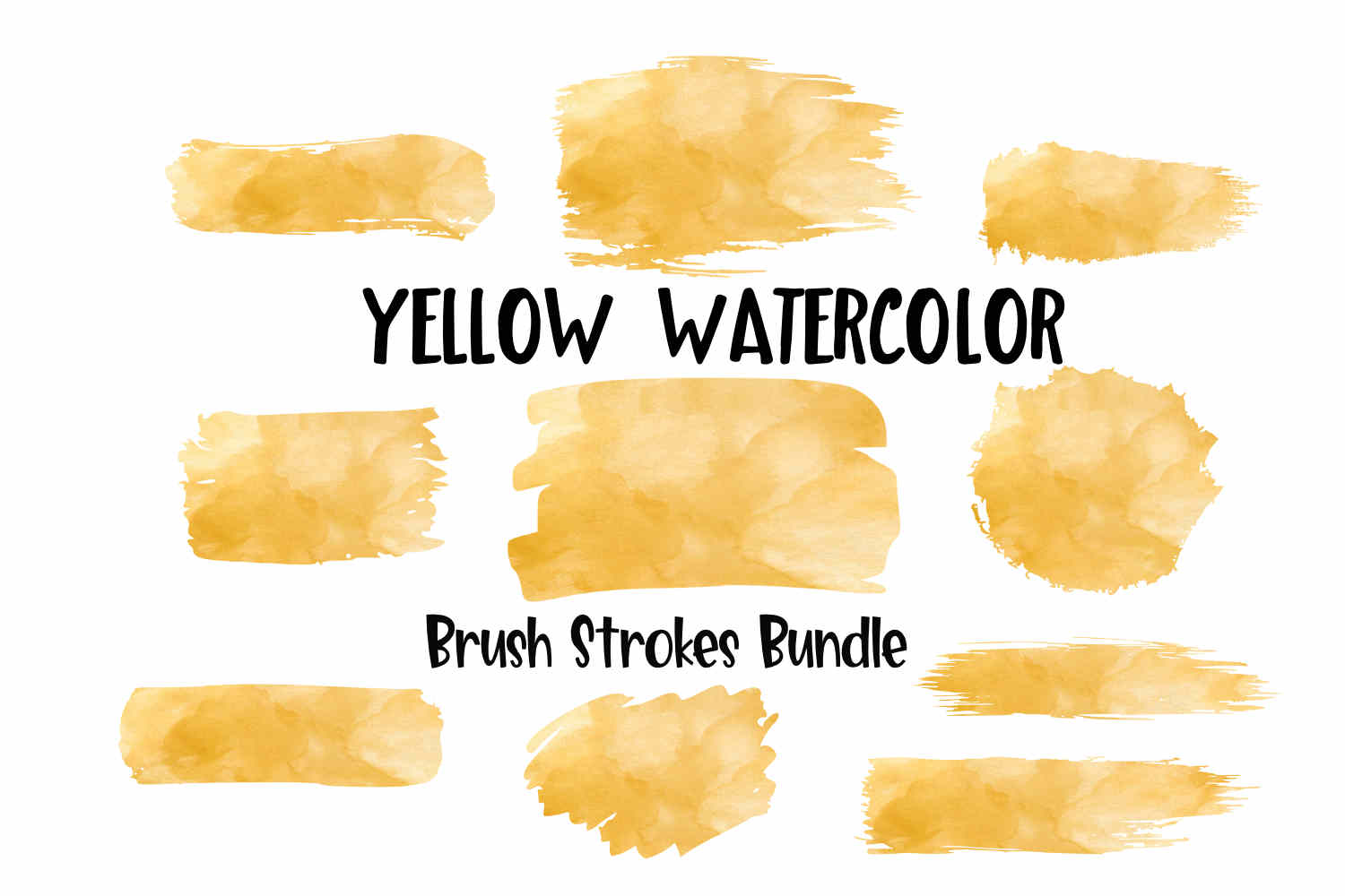 Yellow Watercolor Brush Strokes Background Bundle PNG example image 1