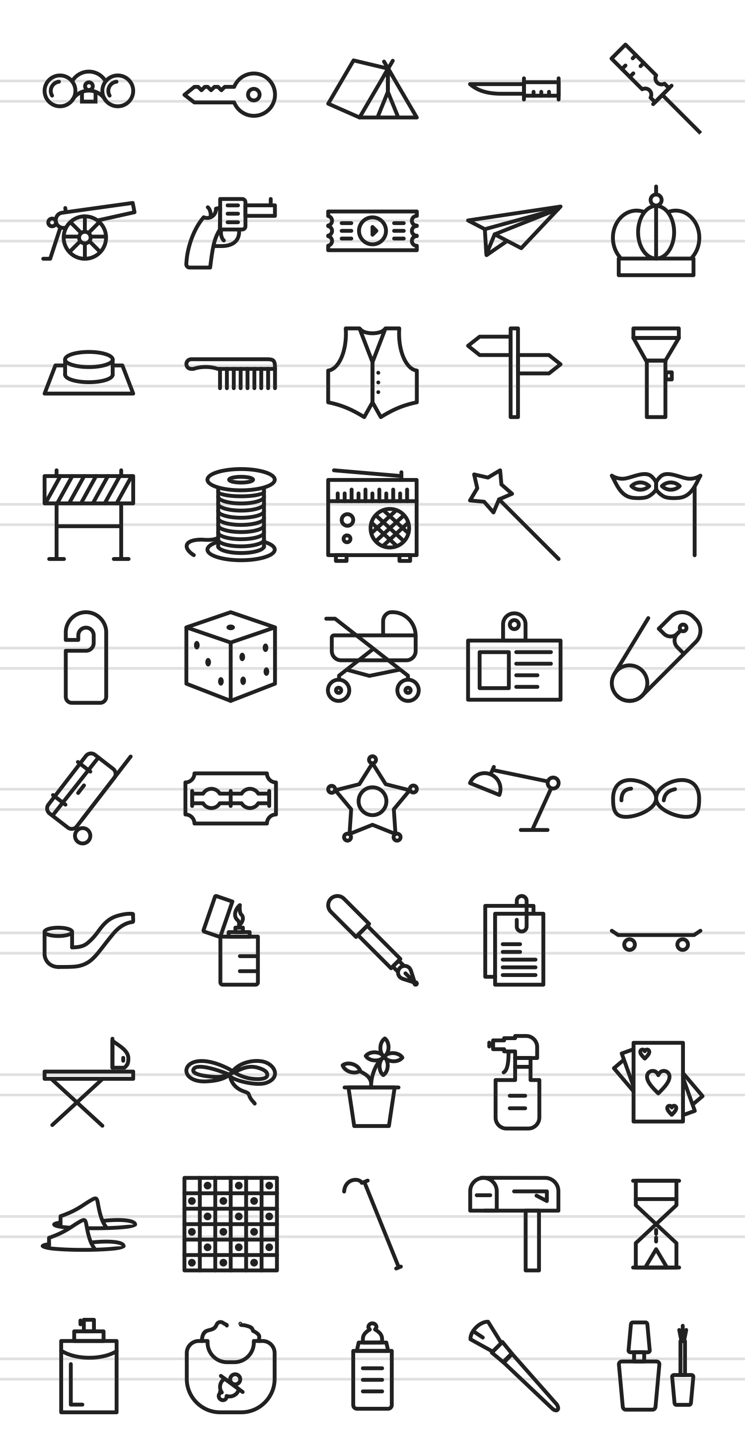 50 Objects Line Icons example image 2