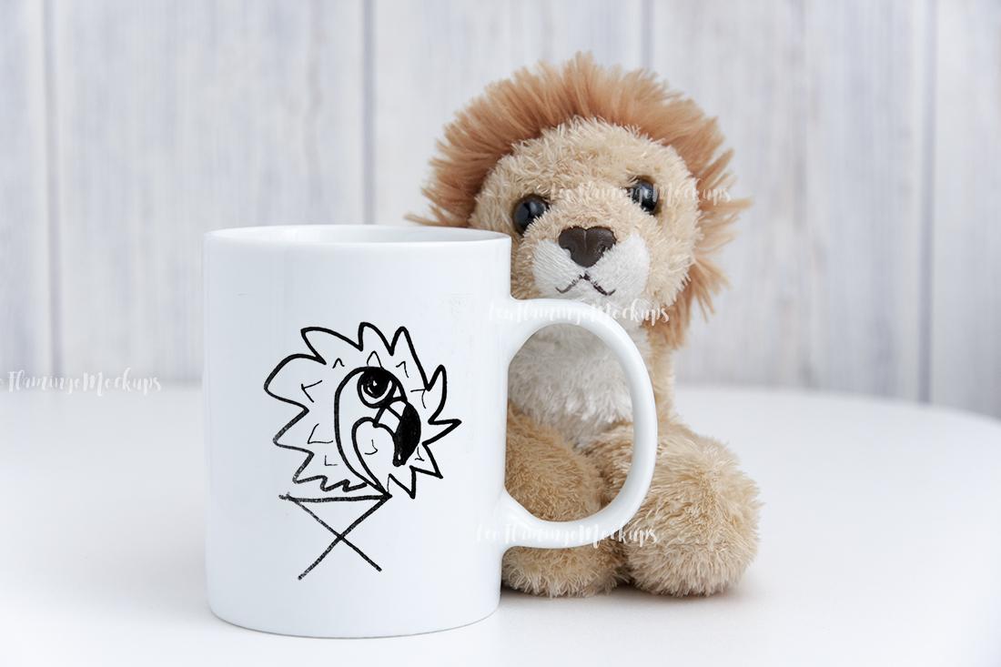 White digital coffee mug mock up kids toy background example image 4