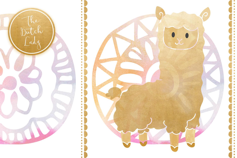 Pastel Lama & Alpaca Clipart Set example image 3