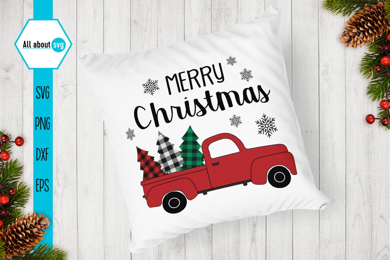 Christmas Truck Buffalo Plaid Svg example image 4