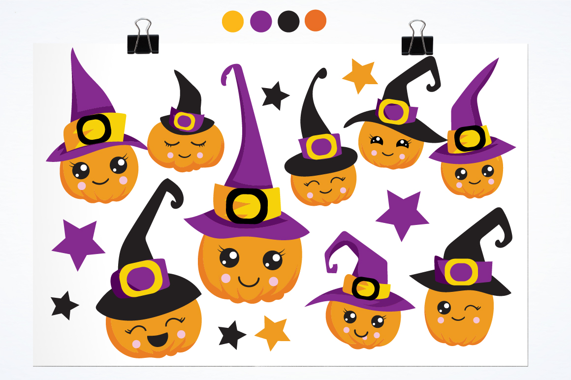 Witchy Halloween pumpkins graphics and illustrations example image 2