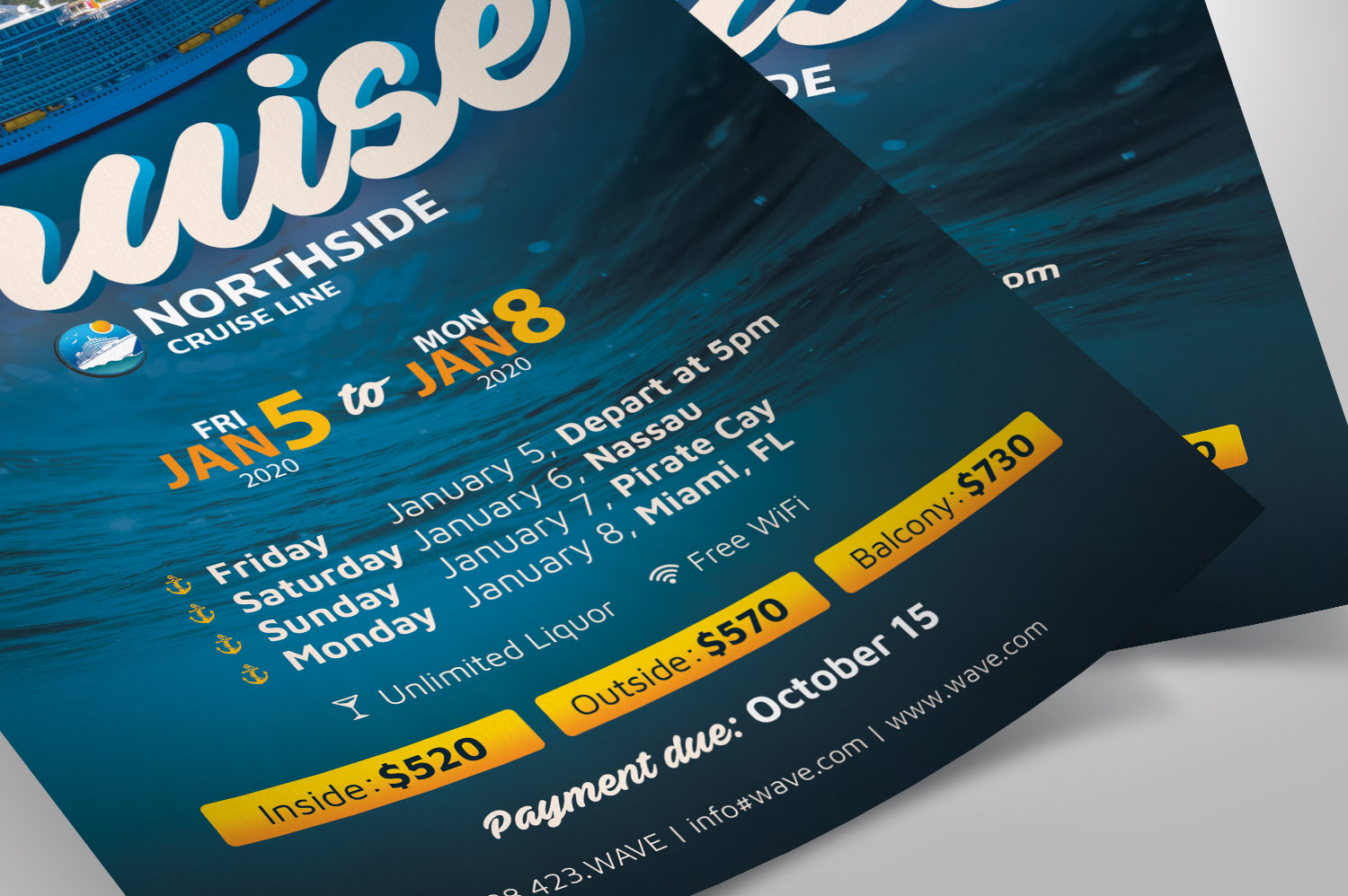 Cruise Travel Flyer Photoshop Template example image 6