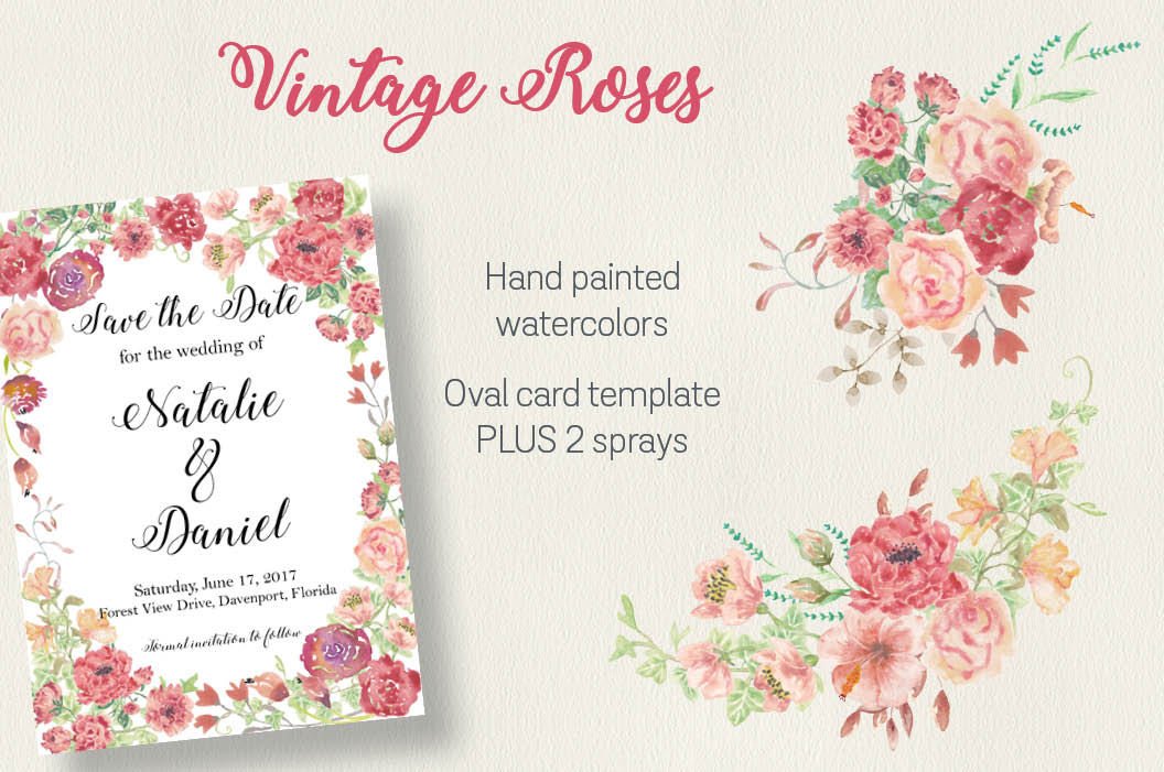 Vintage roses: oval card template plus 2 sprays example image 1