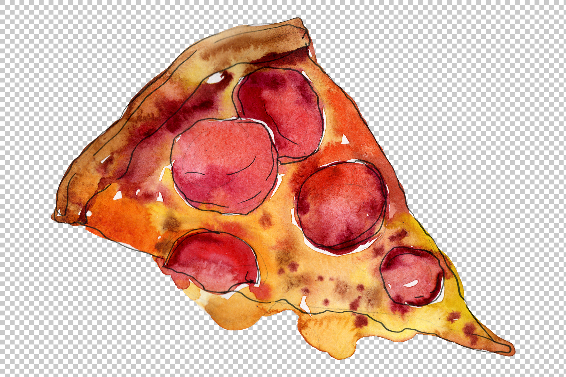Pizza vegetable Watercolor png example image 6